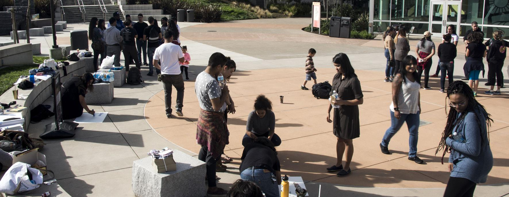 Several students gather in Skyline's Quad in demonstration on Nov. 11, 2016.