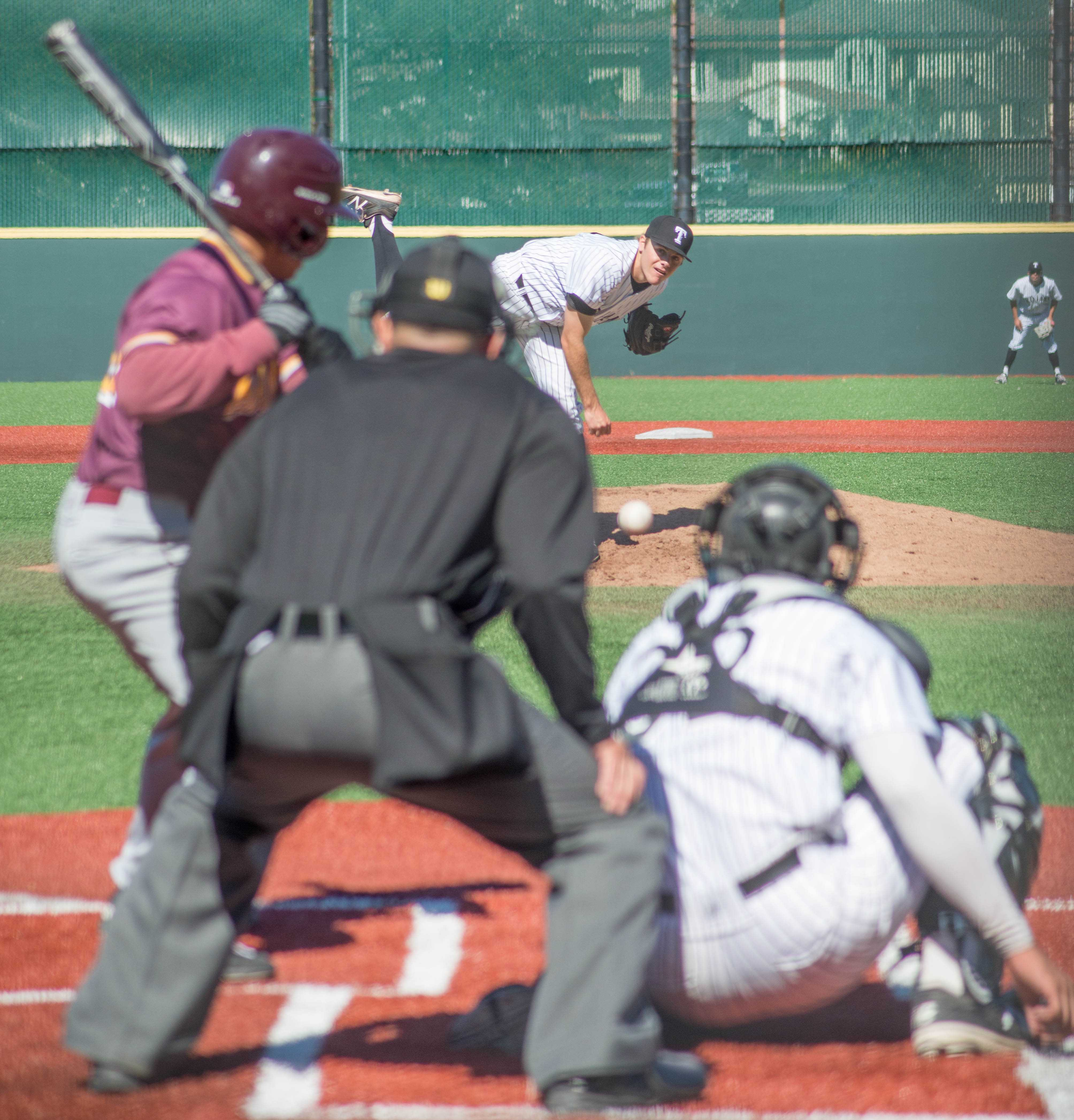 Joe Pratt 14 strikes out batter in the second inning against Hartnell College  on March 11, 2017.