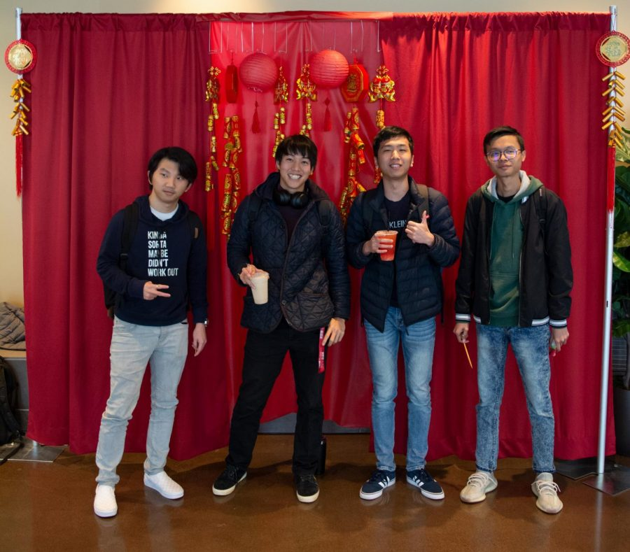 Ly SengChhay (left), Wataru Oshima, Kimheng Peng and Udom Seang (right) celebrate the Lunar New Year in Building 6 on Feb 27. 2020.