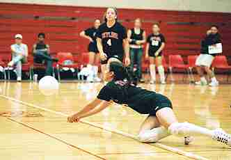 Volleyball team lets one slip away