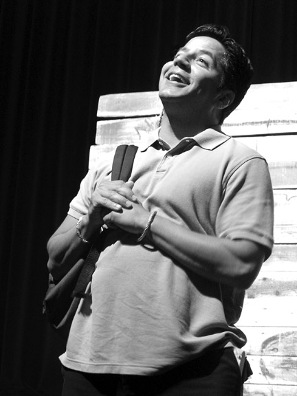 Kevin Sifuentes plays a happy teenager at the DMV in on Oct. 6 performance of  the dramatic monologue