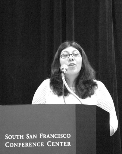 Tanya Johnson provides inspiration and insight with her speech to the honorary guests present at the President´s Breakfast at the South San Francisco Conference Center. (Bob Varner)