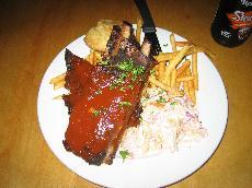 Bar-b-q pork spareribs with french fries and coleslaw. (Sabrina Belara)