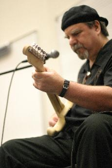 Kenny 'Blue' Ray played some blues music  for an audience of Skyline guitar students and others on April 27.  (Bob Varner)