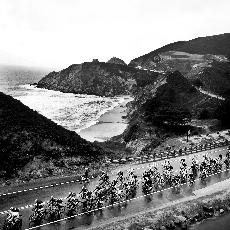 Bicyclists, seen here in pacifica, race along Highway 1. (Scott Fong)