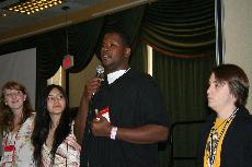 Anttwan Stanberry delivers a speech at the JACC NorCal Presidential Election (Elaine Low)