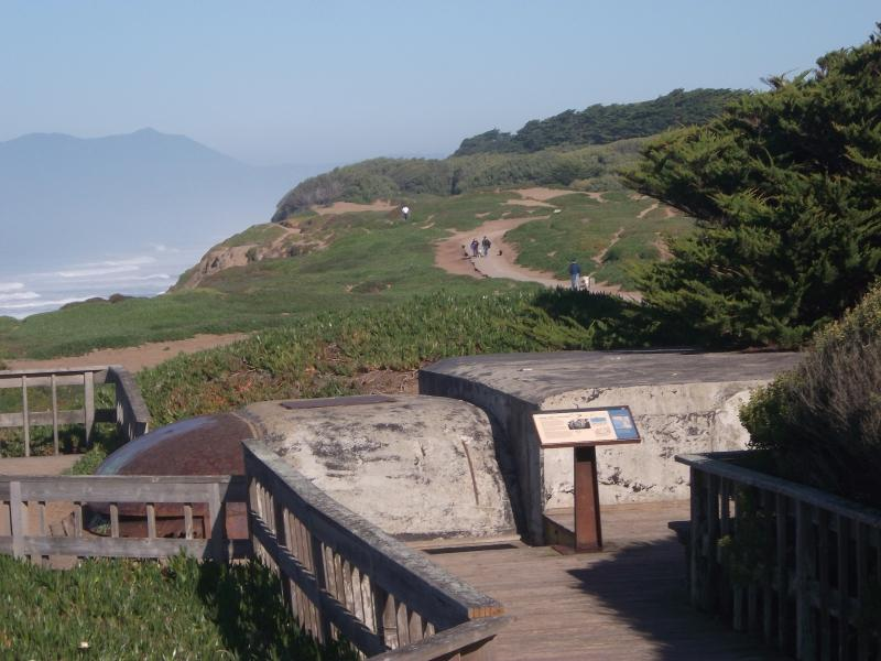 Fort Funston has military lookouts with educational signs. (Lea Naqishbendi)