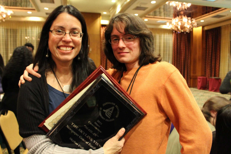 Adviser Nancy Kaplan-Biegel (Left) and Editor in Chief Marc Arguello (Right) present the awards won at JACC. (Alexis de Guzman)