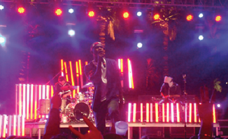 """Frank Ocean performs his song """"Novocaine"""" on stage at the Coachella festival. (Lauren Concon)"""