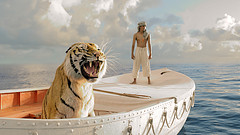 Richard Parker and Pi stand on their boat.