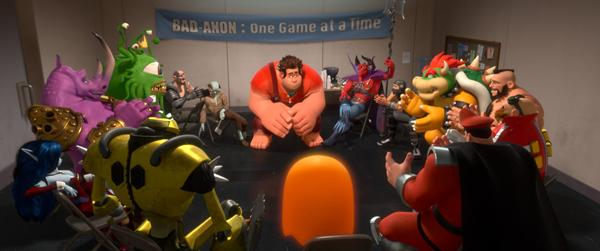 """Wreck-It-Ralph (center) talks with the rest of the """"baddies"""""""