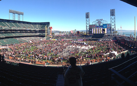 AT&T Park filled with people during the day, coming to see their favorite Giant's players.