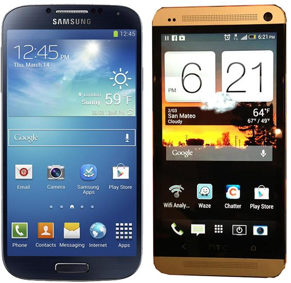 Samsung Galaxy S4 on the left, and the HTC One on the right.