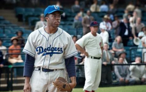 Chadwick Boseman portrays the legendary Jackie Robinson.