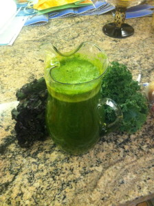 Juice with dandelion greens, red kale, green kale, pineapple, carrots and apple.