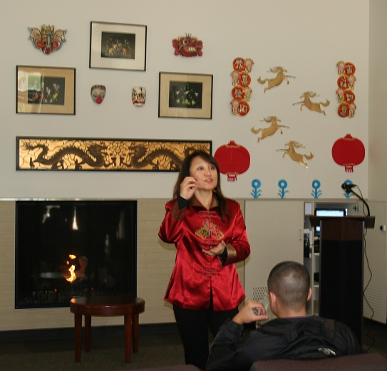 Hui Pate addresses students during the Chinese New Year Celebration.
