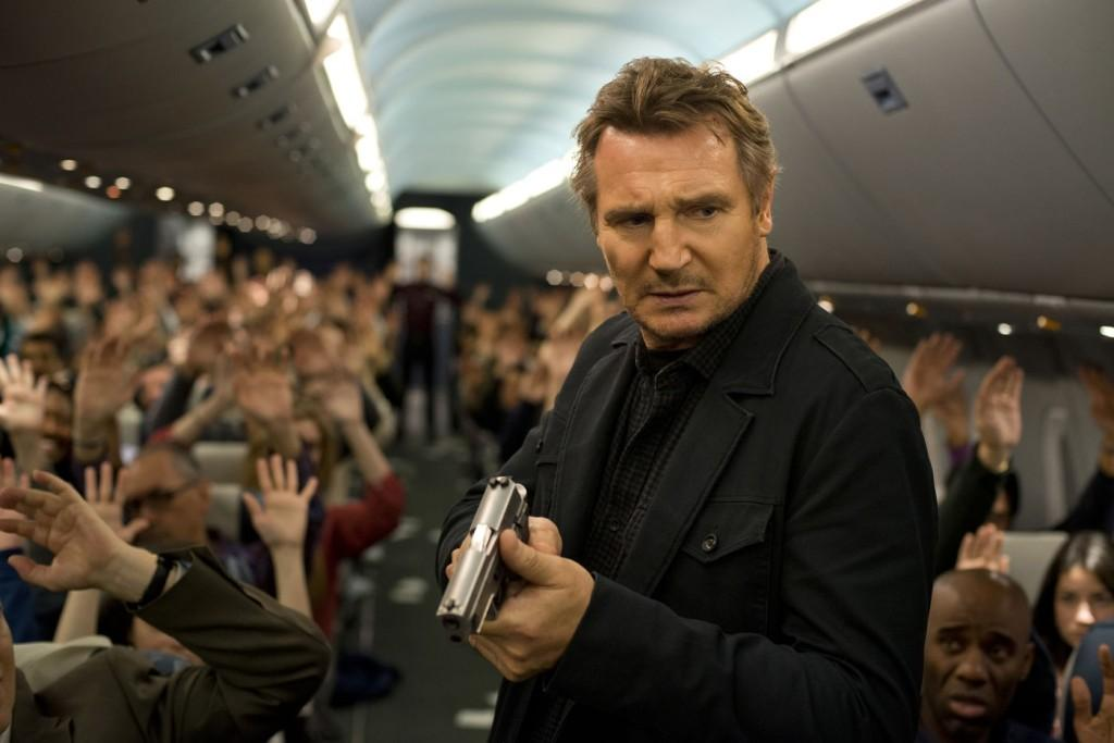 US Marshall Bill Marks(Neeson) searches through the cabin as he hunts down the terrorist onboard.