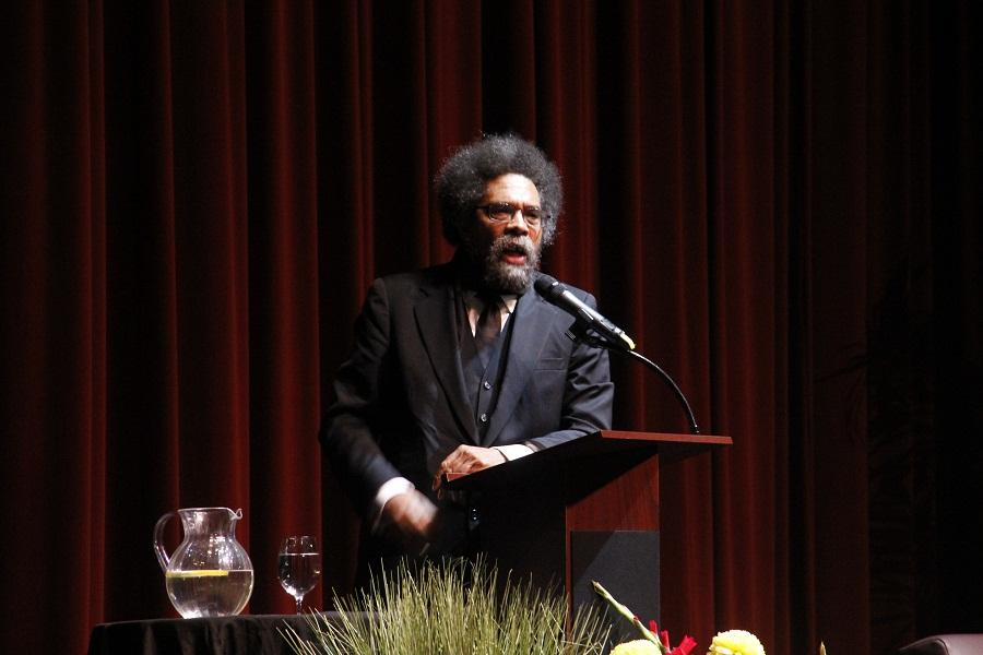 Dr.+Cornel+West+speaking+at+the+Skyline+College+theater.+