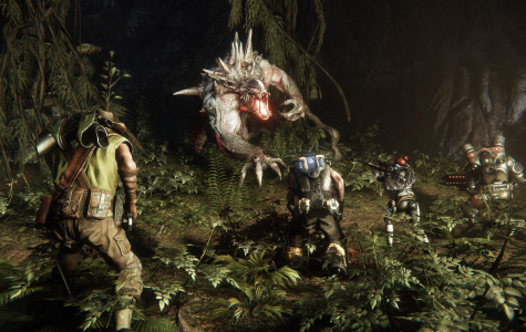 Four hunters take on one of the first monsters you can play as in Evolve, the Goliath. Photo credit: Miguel Garcia