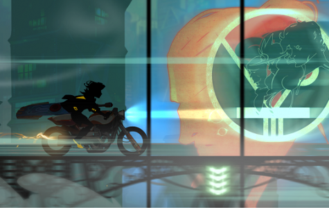 The two main character's Red and the mysterious talking sword Transistor riding on motorcycle as they discuss their next move. Photo credit: Joshua Collier