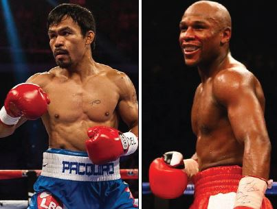 Manny Pacquiao (left) and Floyd Mayweather (right), two boxing legends face off for the first time.