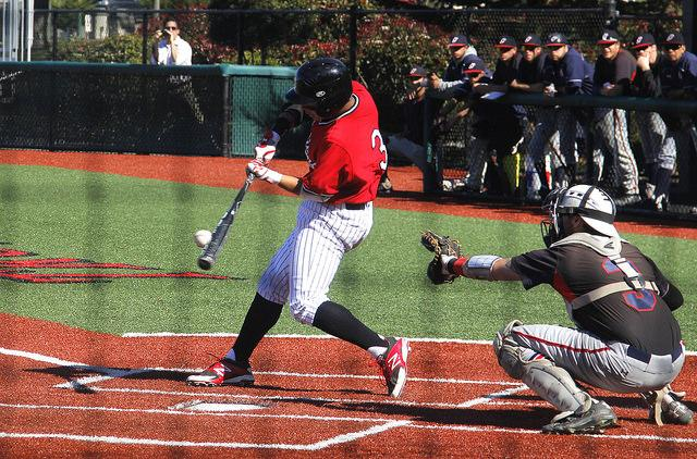 Trojans Brett Berghammer (#3) bats at the March 5 game against Gavilan College. Photo credit: William Nacouzi