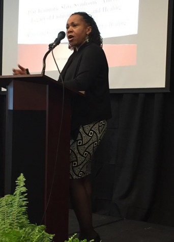 Dr. Joy DeGruy, on Thursday, March 5, discusses post traumatic slave syndrome through overlooked details of history pertaining to slavery and how it affects African-Americans and people of color today at Skyline college.