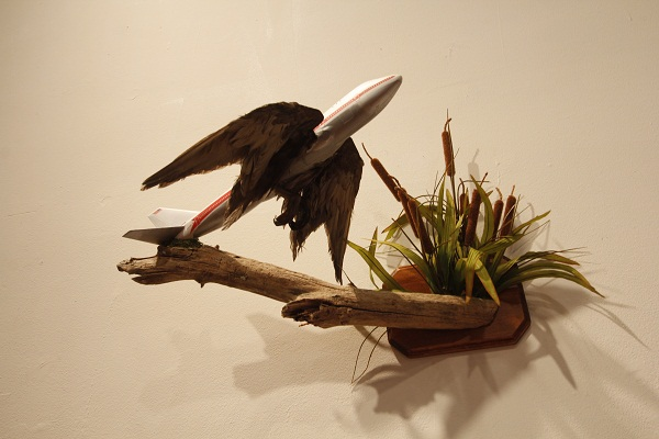 %27Rare+Bird%27+by+Jeremiah+Jenkins+made+from+plastic%2C+taxidermy%2C+and+wood.+