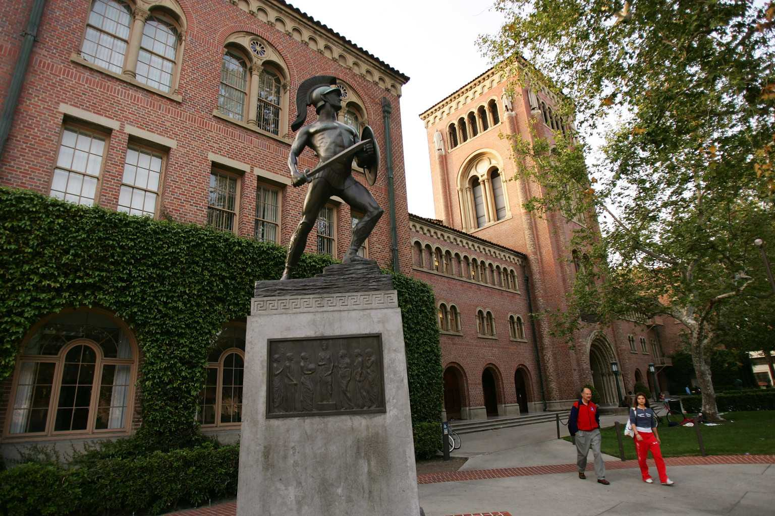 The iconic statue of Tommy Trojan on USC's campus.