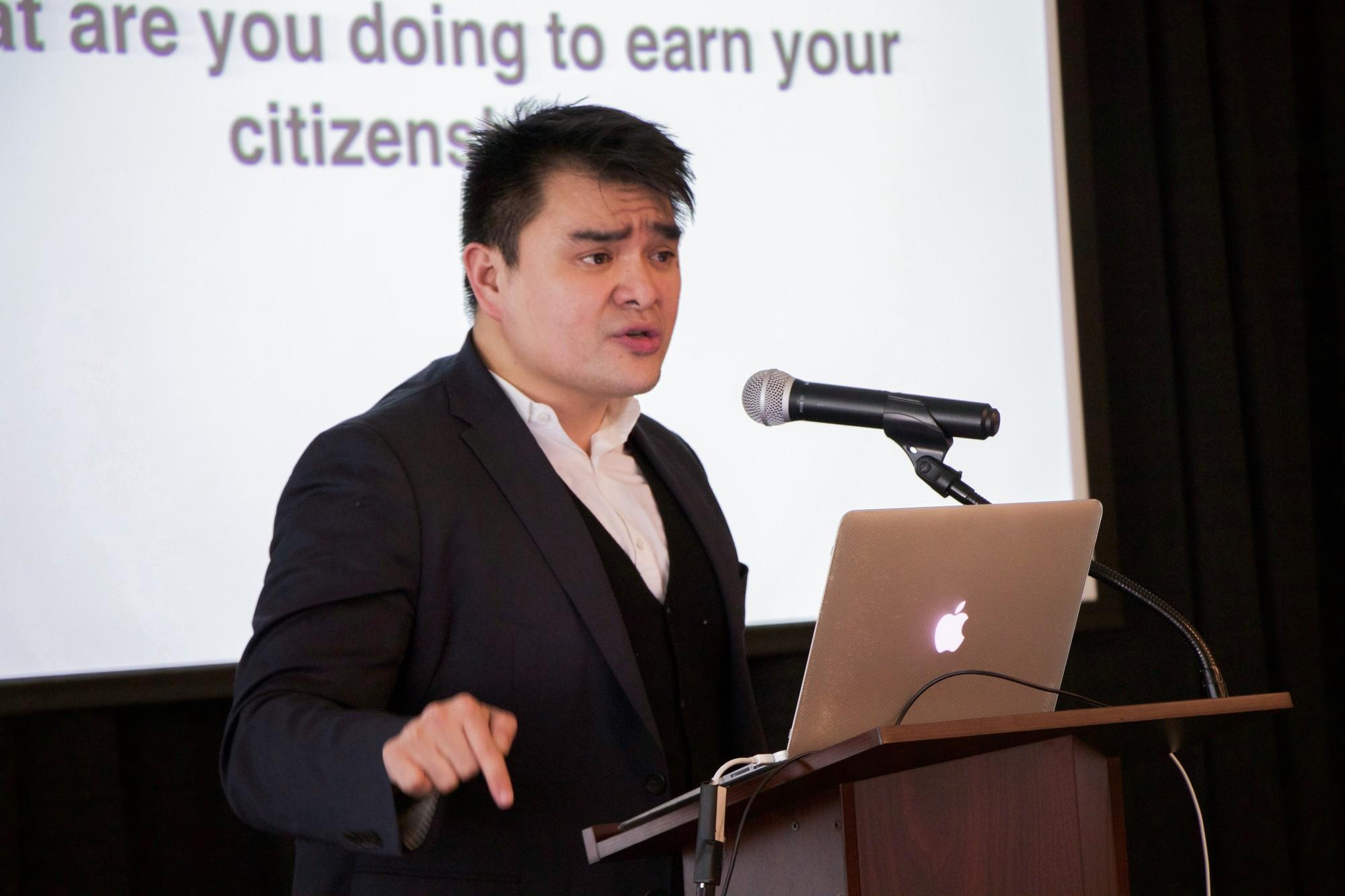 Journalist Jose Antonio Vargas speaks to Skyline students and staff about undocumented immigrants in America in building 6 on April 7, 2016.