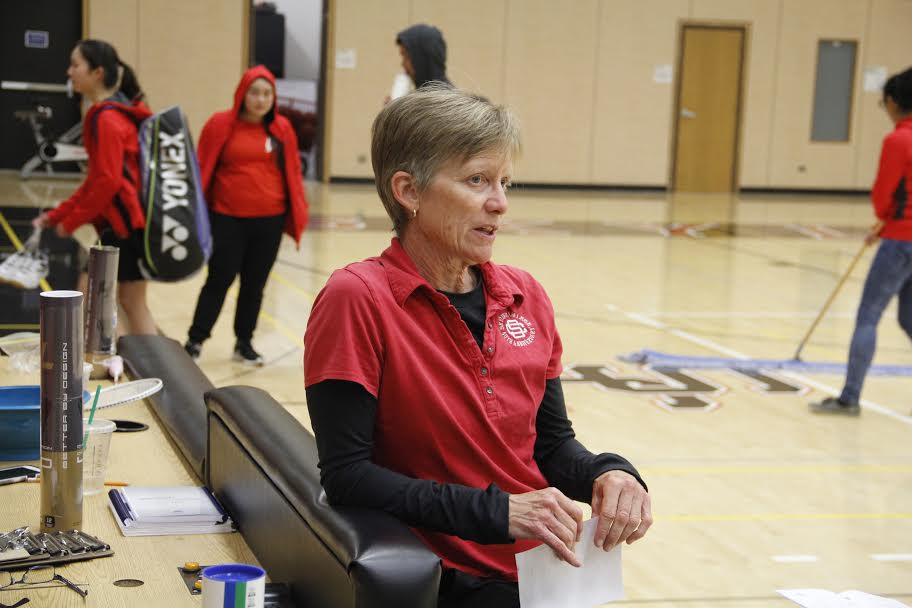 Skyline College Badminton Head Coach Jan Fosberg speaking with a TSV Reporter, after the game on April 26, 2016.