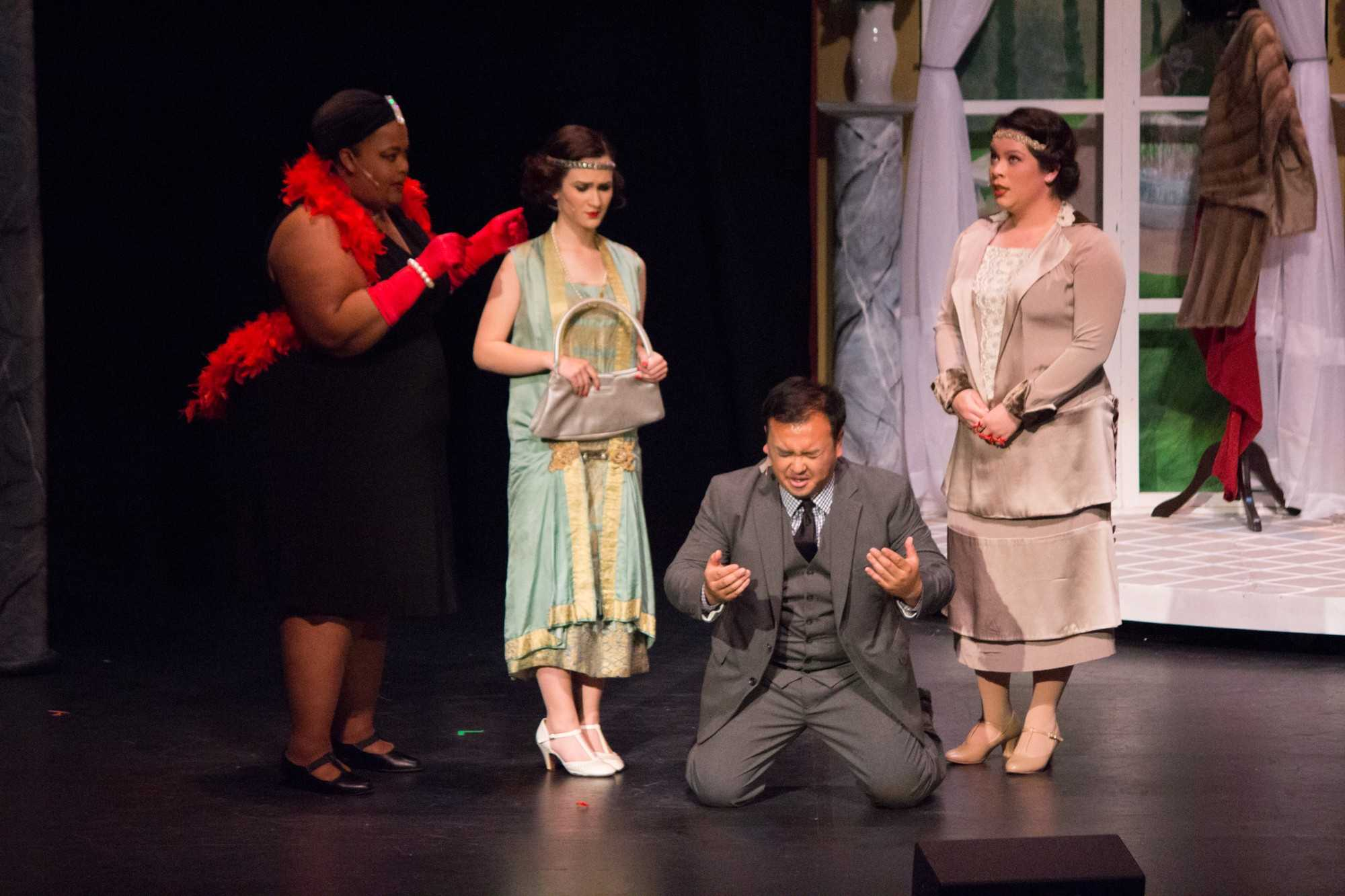(Left to Right) April Bracy, Danielle Rideau, Kevin Valera and Jalayna Schneider in Skyline College's Spring Musical, The Drowsy Chaperone on Friday, April 22, 2016.