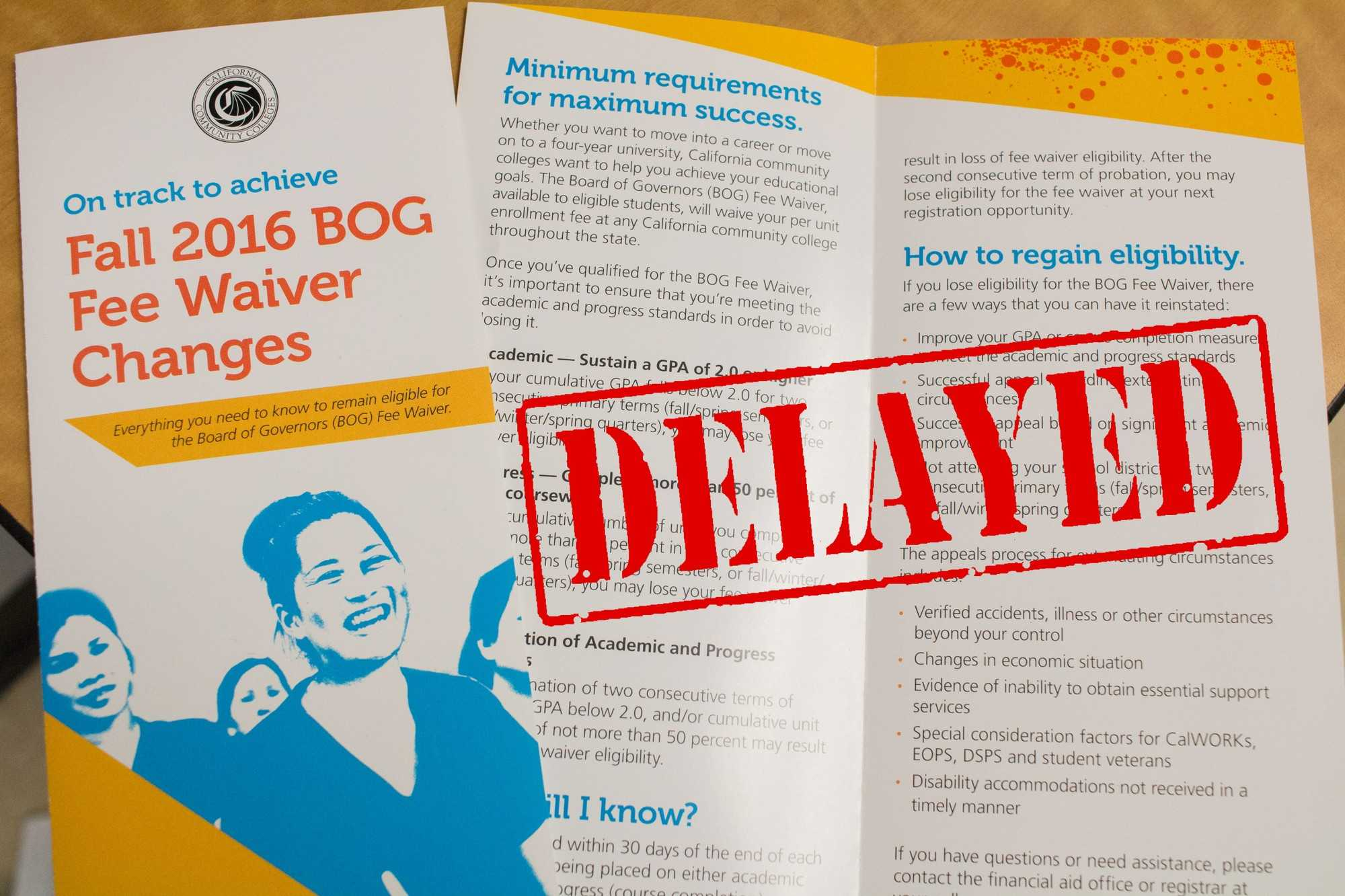 BOG Fee Waiver delayed due to new regulations coming into place for the next school year.