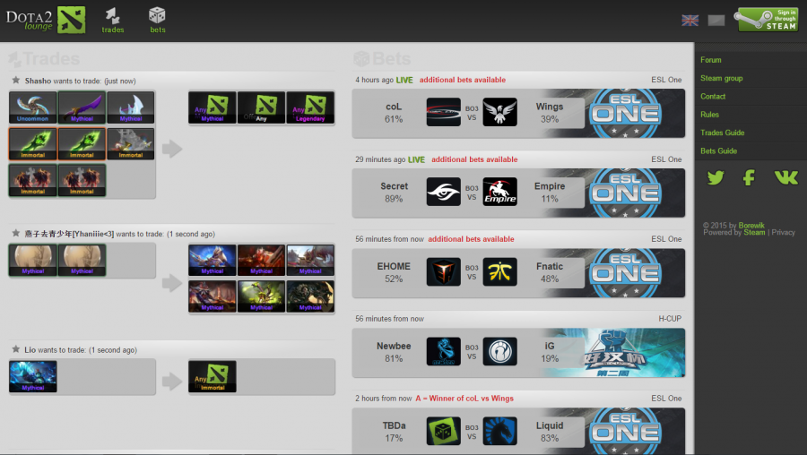 A+screenshot+of+a+listing+of+E-Sports+games+on+Dota2Lounge%2C+where+people+make+bets+on+different+teams.+