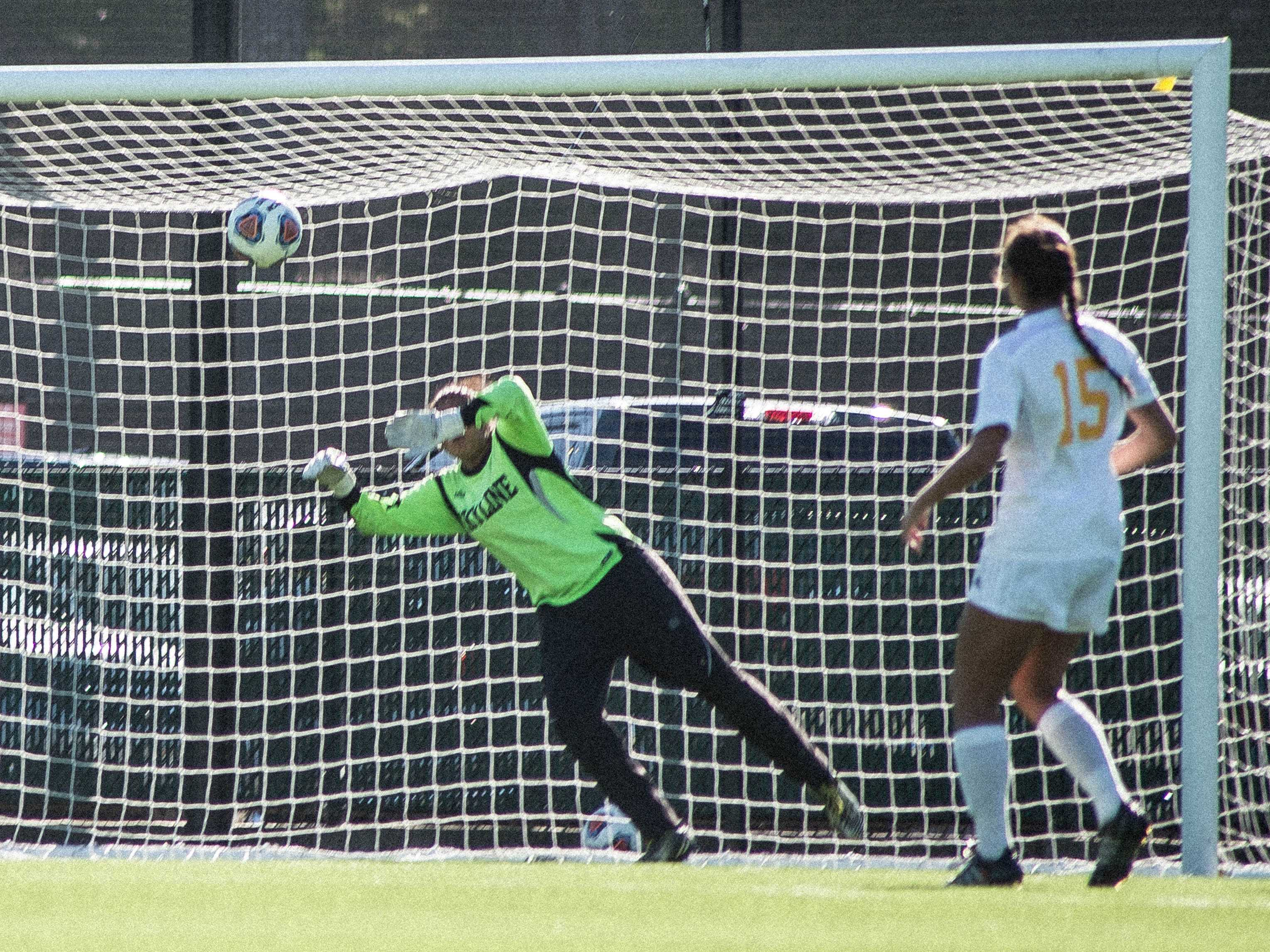 Skyline goalie misses the save against Hartnell's Megan Hertzog.