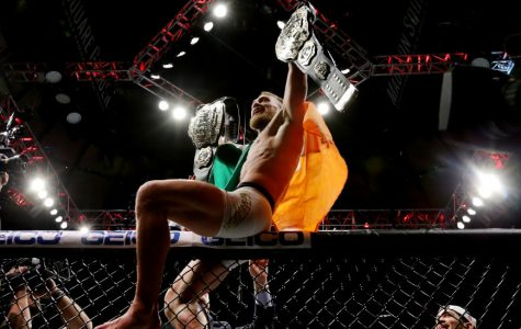Conor McGregor of Ireland celebrates his KO victory over Eddie Alvarez of the United States in their lightweight championship November 12, 2016 in New York City.