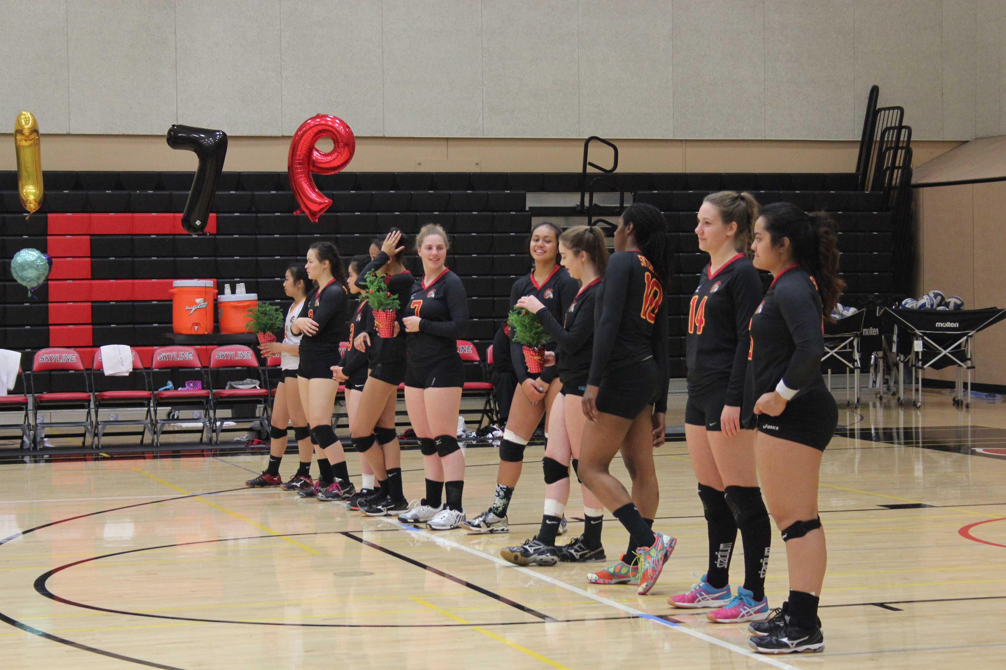 Skyline's volleyball team battled hard on the court all season while keeping an accumulated 3.7 GPA. Photo credit: Blynn Beltran