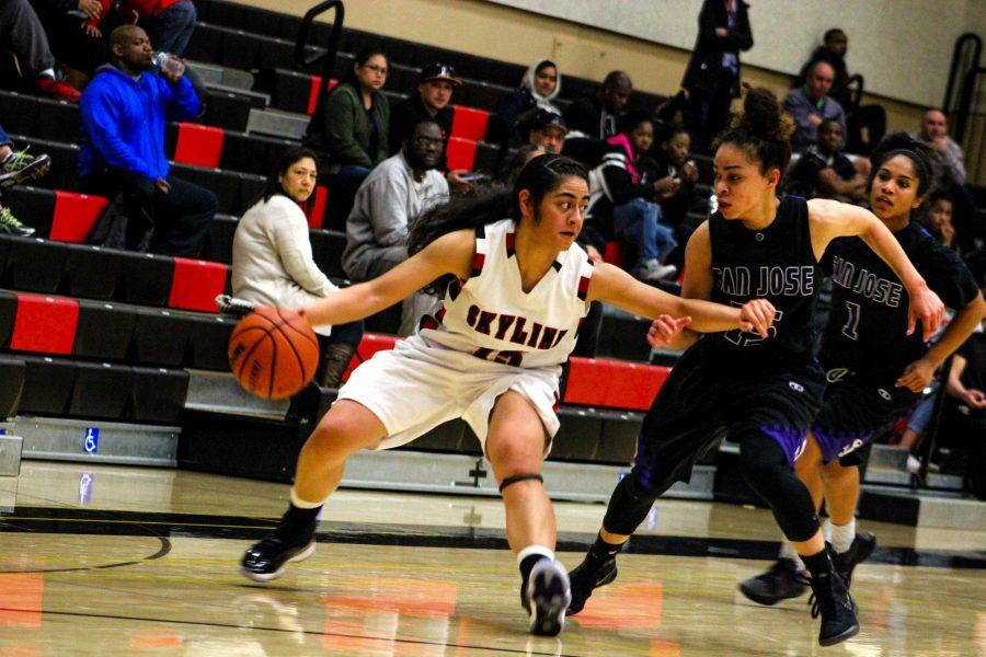 Victoria Langi protects the ball against San Jose City College on Feb. 10.