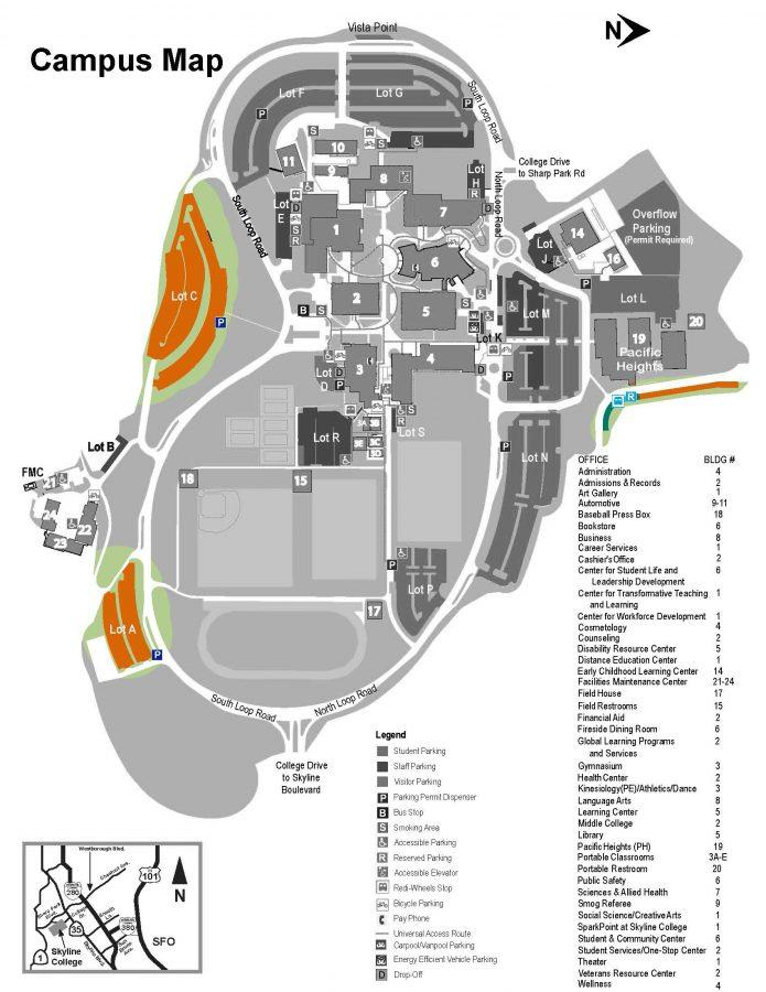 The colored indicated areas are parking lots students forget that are available.