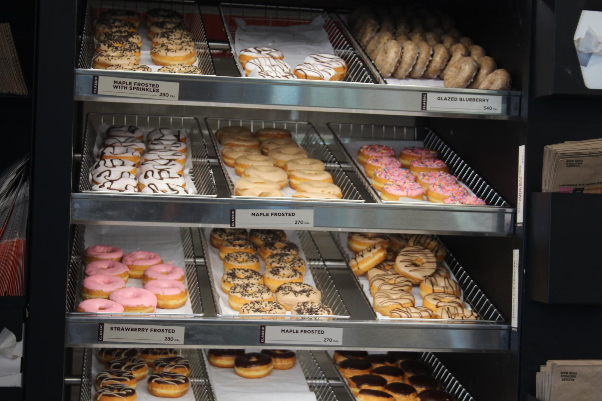 Dunkin Donuts have a big assortment of donuts available for order.
