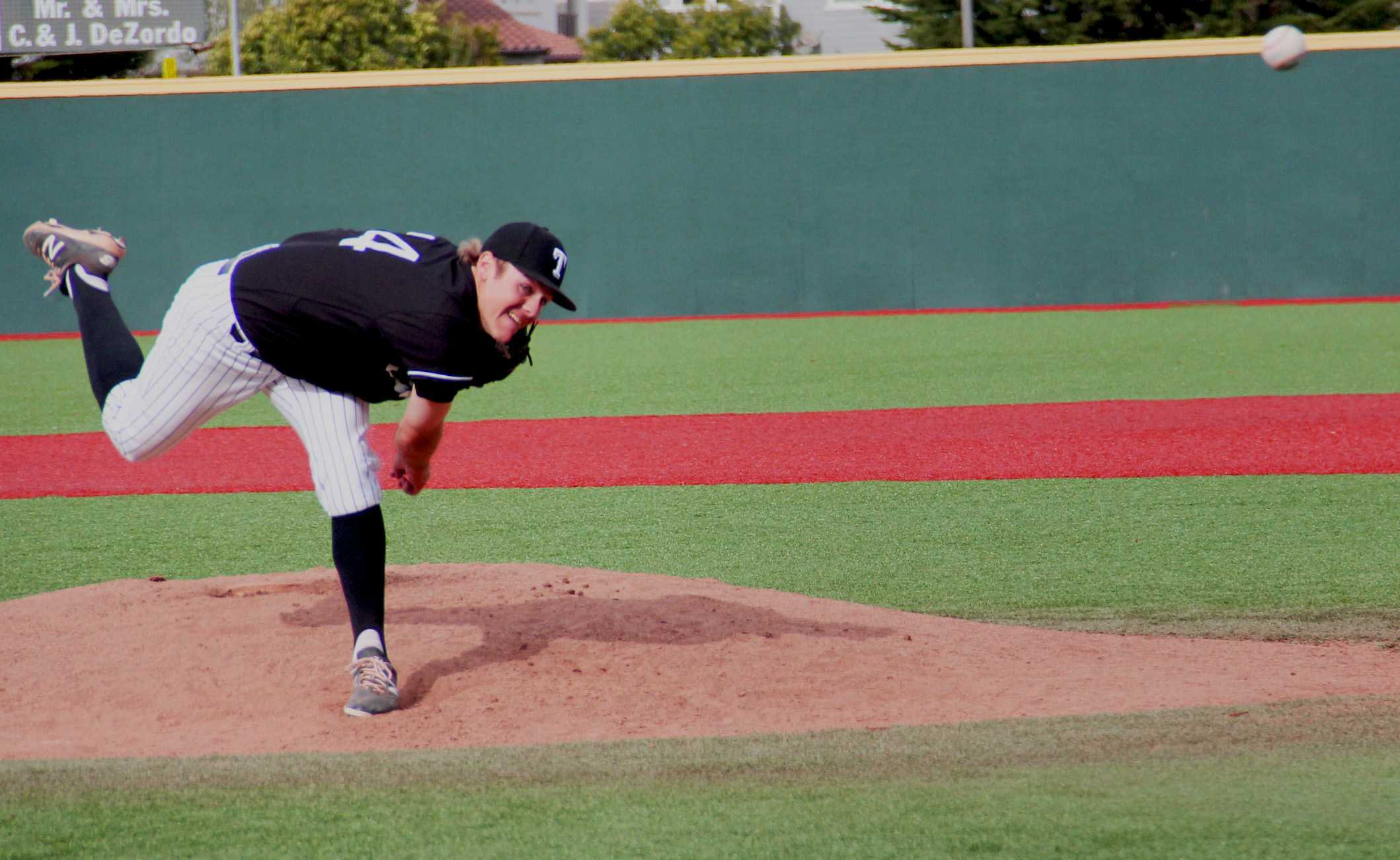 Joe Pratt strikes out two of the batters to close the seventh inning of March 16 at Skyline College.
