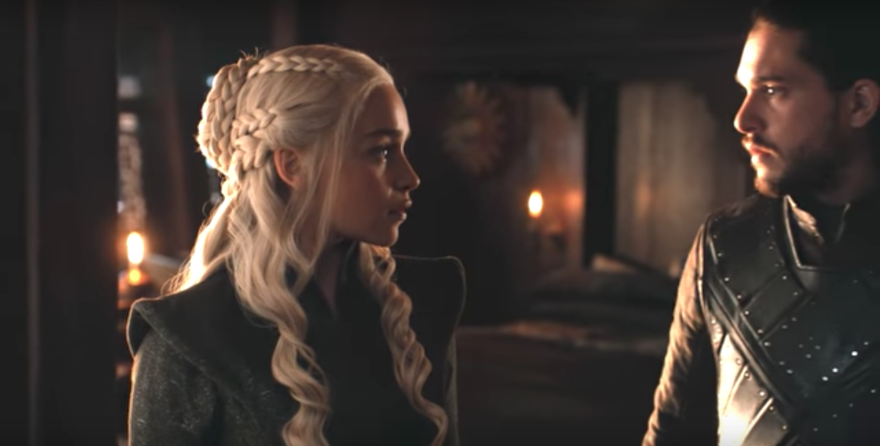A+screenshot+of+Daenerys+Targaryen+and+Jon+Snow%2C+two+crucial+characters+in+the+HBO+series+Game+of+Thrones.