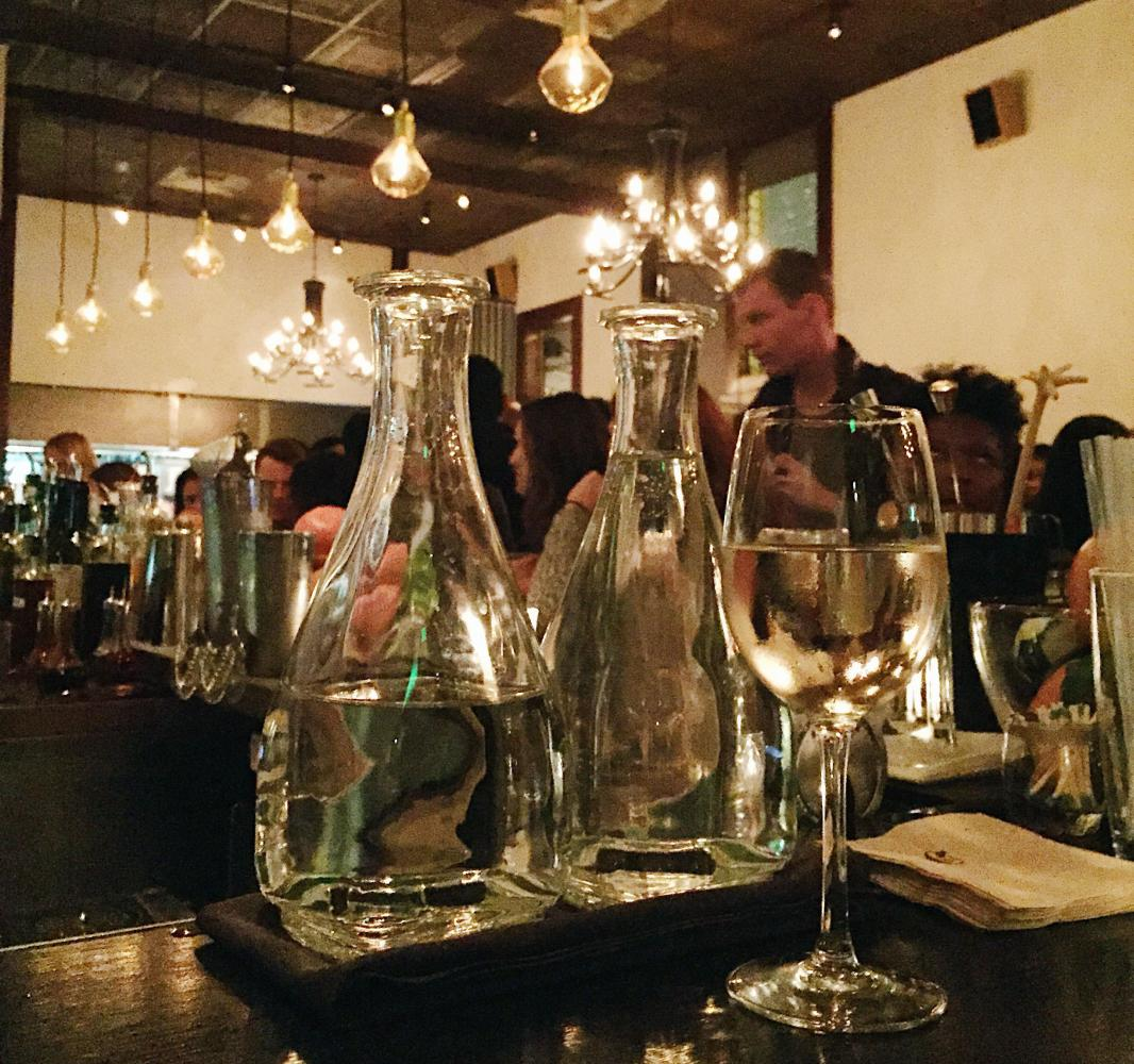 Water served to guests in Baretta, a pizzeria located in the Mission District on September 7, 2017.