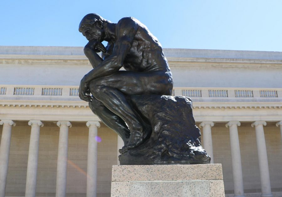 Sculpture called The Thinker by Auguste Rodin in front of the Legion of Honor on March 7, 2018.