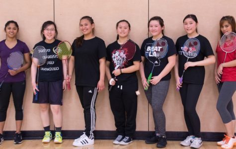 The Skyline women's badminton team.