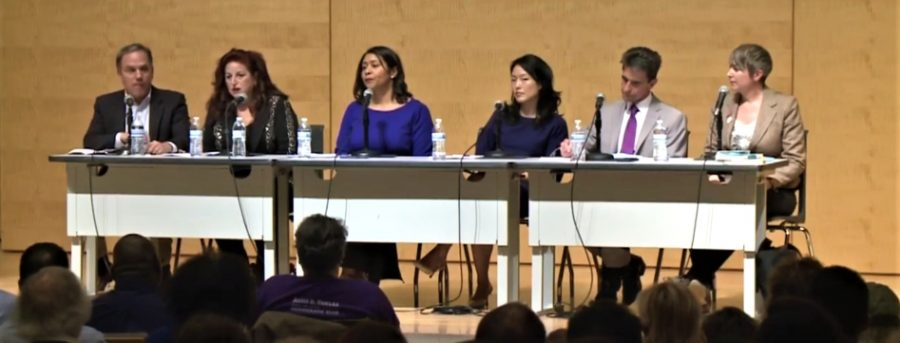 From left to right, SF Chronicle Editorial Page Editor and moderator John Diaz and mayoral candidates Angela Alioto, London Breed, Jane Kim, Mark Leno and Amy Farah Weiss talk about plans for the city in front of a crowd of many undecided voters in the basement of the San Francisco Public Library on Feb. 3, 2018.