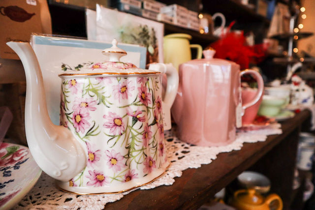 Mismatched china like these are a hallmark at Lovey's Tea Shoppe on Dec. 3, 2018.