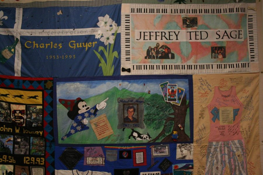 Wednesday, 4 Dec. AIDs quilt at the Skyline's library, the quilt symbolizes the hope and resilience for those lost.
