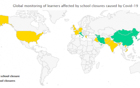 In this photo illustration of the Coronavirus COVID-19 show a Global map monitoring of the learners affected by school closures, Mar. 12.