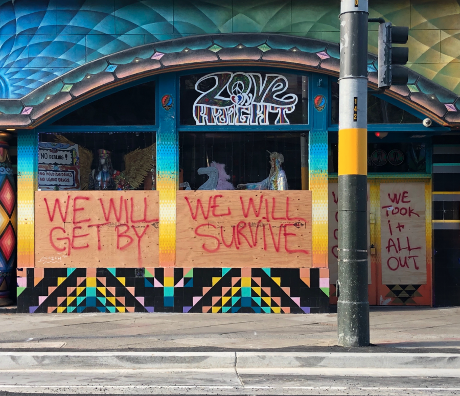 Hopeful words are expressed on the walls during the COVID-19 pandemic in San Francisco's Haight-Ashbury.